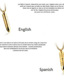 Lord's Prayer Bullet - Stainless Steel Cross Pendant Necklace - Ashes Urn Necklace