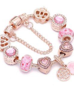 Elegant Pandora Charm Bracelet Jewelry Gift Fashion Glamour Hot Rose Gold Flower Pendant Charm Bracelet For Women Balma Home