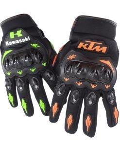 Full Finger Motorcycle Kawasaki Gloves Motocross Leather Motorbike