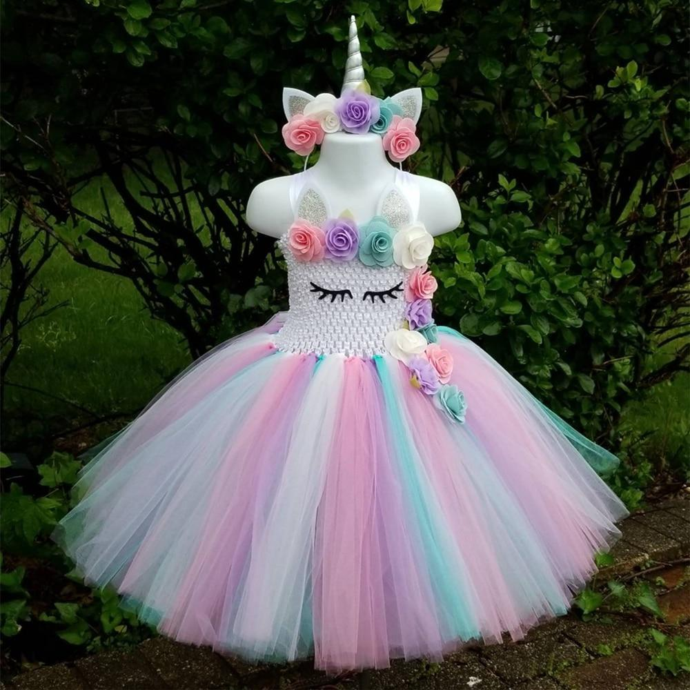 b2a8fc9af0 Unicorn Tutu Dress Pastel Rainbow Princess Dress for Girl