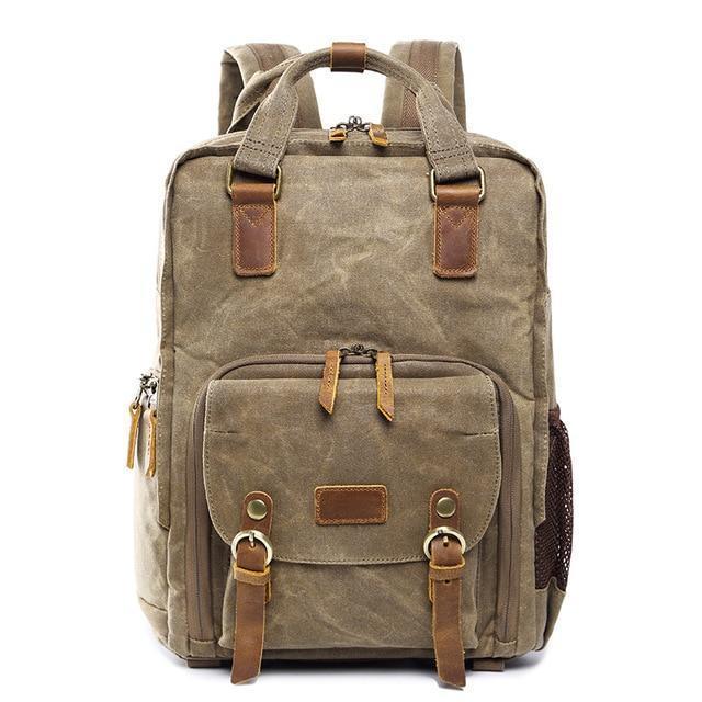Waterproof Waxed Canvas Camera Backpack