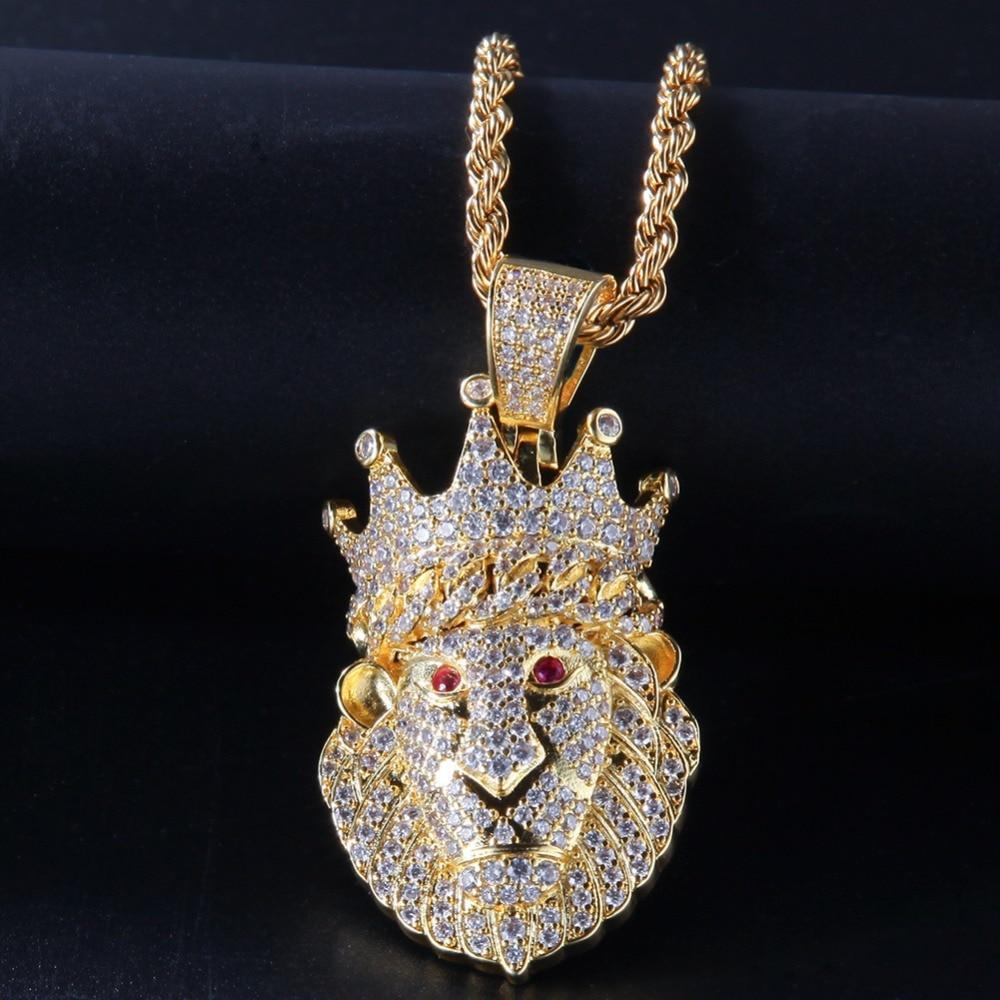 Iced Out Crown Lion Animal Pendants Necklace for Men