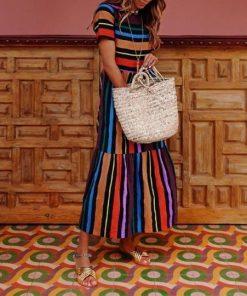 Bohemian Striped Multicolor Length Dress