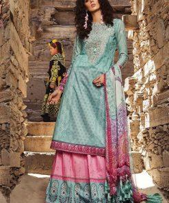 Aqua Blue Designer Lawn Embroidered Salwar Kameez