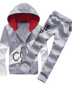 Hooded Track Suit Sweat Suit Warmup Jogger Tracksuit Set