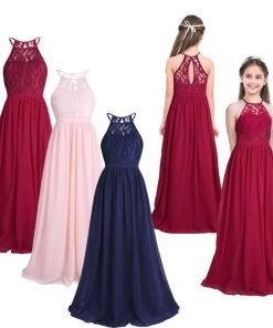 Lovely Halter Pleated Girls Party Lace Long Dresses