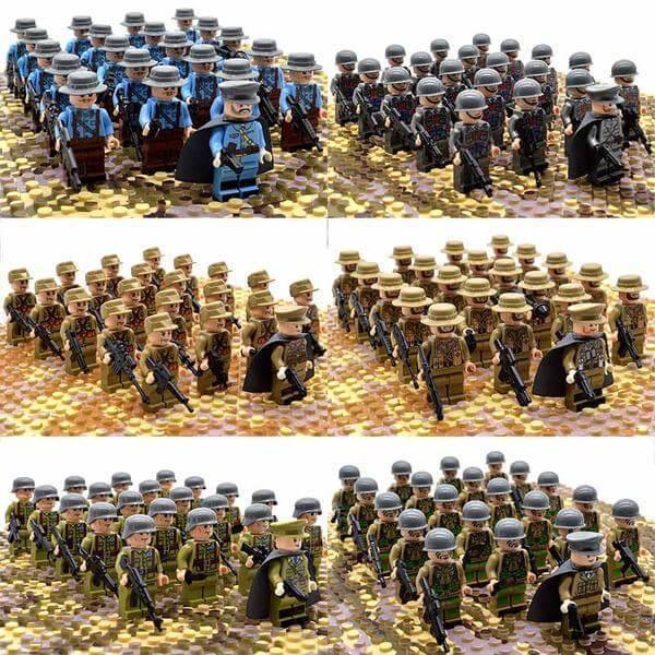 21PCs/set WWII Army Military Building Blocks German France Italy Japan Britain