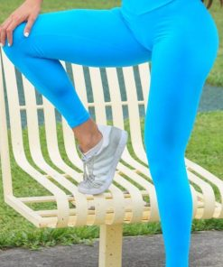 CANOAN - BRAZILIAN WORKOUT LEGGING - SCRUNCH BOOTY LIFT! DEEP SKY BLUE