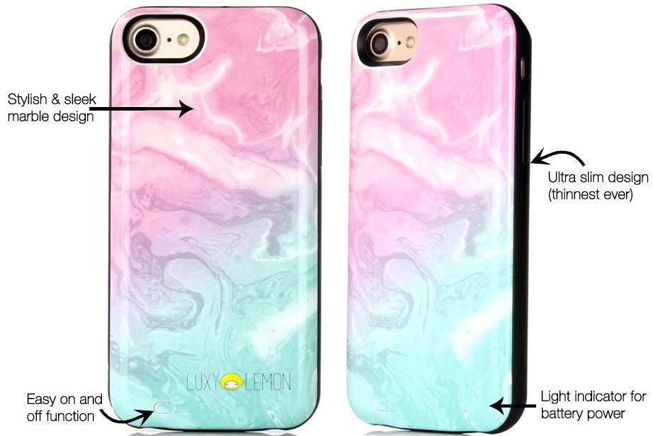 new product aaa63 c6230 Cotton Candy Marble Battery Power Phone Case