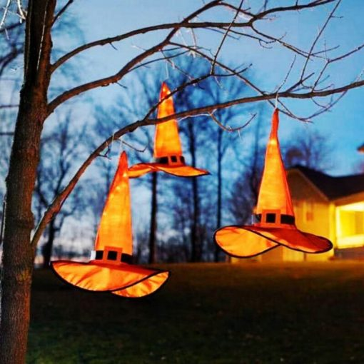Hanging Lighted Witches Hats