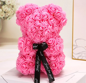teddy bear made of real roses