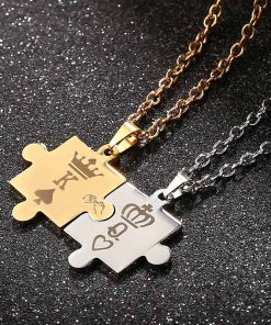 King and Queen Puzzle Necklace Set